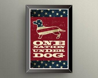 DACHSHUND POSTER | 11X17 | Print | One Nation Under Dog