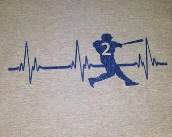 Glitter baseball batter heartbeat shirt
