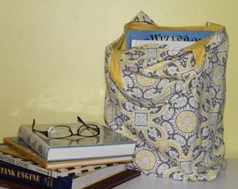 Yellow and Grey Medallion Design Tote