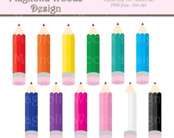 Pencil Clip Art, Colored Pencils Digital Clip Art, Craft Clip Art, Pencil Images, Small Commercial Clip Art, School Supplies Clip Art