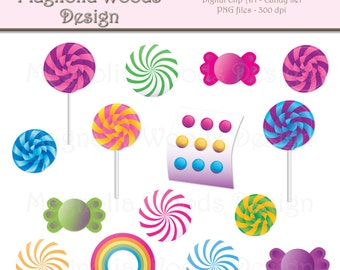 Candy Clip Art, Rainbow Candy Clip Art, Peppermint Clip Art, Lollipop Clip Art, Candy Land Clip Art, Small Commercial Use Clip Art