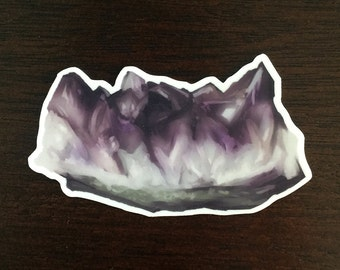 Crystal Vinyl Sticker - Amethyst Purple Gemstone Cluster