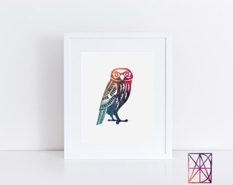 Watercolor owl, owl watercolor print, owl art work, owl poster, owl artwork, owl wall art, owl wall decor for kids, owl print, owl art kids