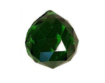 """Green Faceted Crystal Ball ~30mm, ~1 1/4"""""""