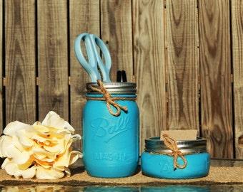 Office desk accessories, mason jar office, office decor, coworker gift, mason jar storage, business card holder for desk, mason jar decor