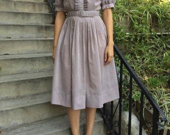 Vintage Cotton Dress with Original Belt, Ruffle Detailing, Medium