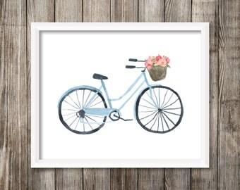 Blue Watercolor Bicycle with Flower Basket 8x10 Printable Wall Art, Bike Print, Pink Watercolor Flowers, Bicycle Nursery Decor, Travel Print
