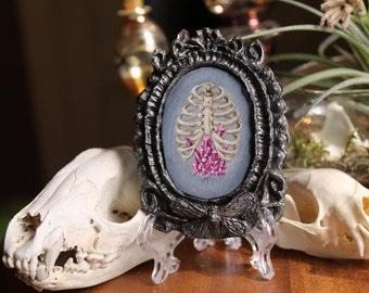 Ribcage and Crystals Original Tiny Cameo Painting