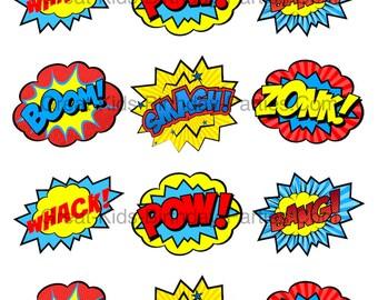 SUPERHERO STICKERS, Superhero CLIPART,  Superhero Printables, Superhero Party, Superhero Decorations, Superhero Word Bubbles