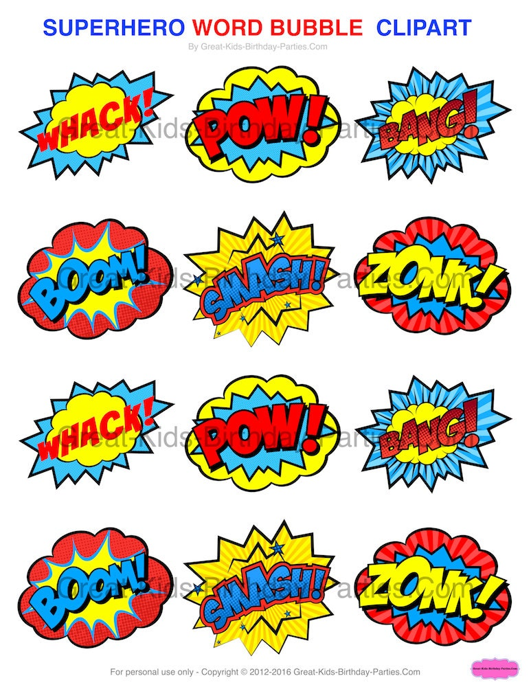 SUPERHERO STICKERS Superhero CLIPART Superhero Printables