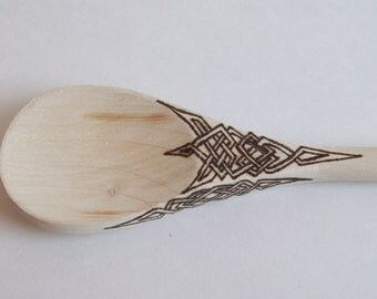 Wooden Spoon With Spiked Celtic Knot WoodBurned Design