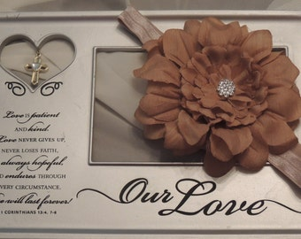 Embellished Tan Flower Headband