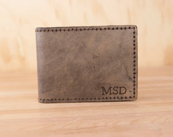 ID Bifold Wallet - Personalized Mens Leather Bifold Wallet with Monogram  - Antique Black Leather - Third Anniversary Gift