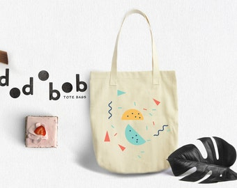 Tote Bags, Geometric Tote Bag Yellow Green - Canvas Tote Bag - Printed Tote Bag - Market Bag - Cotton Tote Bag - Funny Tote Bag Dots