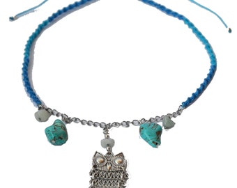 Owl and turquoise macramé necklace