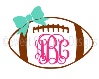 Football monogram with bow SVG PDF DXF instant download design for cricut or silhouette