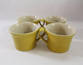 """Yellow Gold Coffee Mugs Cups ~ Ceramic Stoneware """"Speckled"""" Mid Century Modern MCM  Set of Four  by PREMIERE DuraStone  JAPAN"""