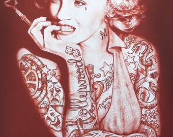 Tattoo marilyn monroe etsy for Marilyn monroe with tattoos poster