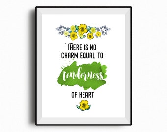Emma Jane Austen quote, There is no charm equal to tenderness of heart, Jane Austen printable, green watercolor, quote prints, home decor