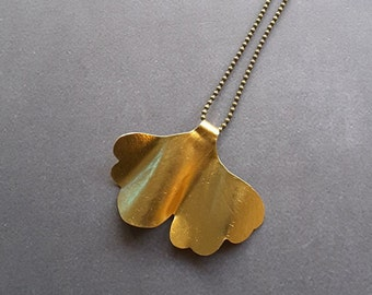 Ginkgo Biloba Necklace, Nature Necklace, Gold Necklace, Leaf Brooch, Ginkgo Biloba Leaf, Gift for her, Gold  Jewelry, Ginkgo Biloba Jewelry