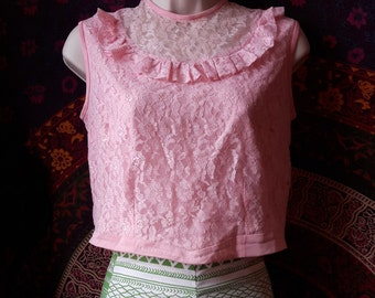 Pink frilly upcycled sixties blouse
