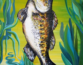"original painting on canvas acrylic breathing fish 18""x15"""