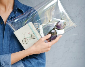 Clear clutch bag / Transparent clutch / Envelope clutch bag / Clear ipad case / Transparent ipad case