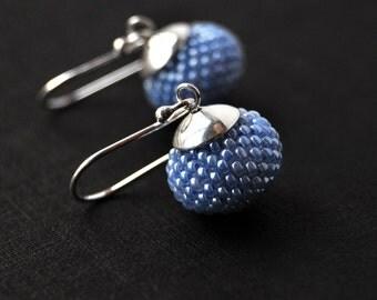 Blue earrings, sterling earrings, dangle earrings, blue jewelry, wedding earrings, crystal earrings, beaded earrings, long earrings