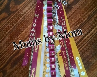 "Classic Homecoming Mum with Animal Print and 36"" ribbons"
