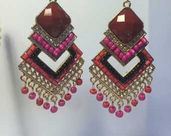 Gold Multicolored Beaded Earrings with Cubic Zirconia