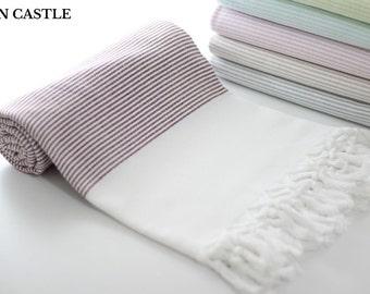 Midilli | Turkish Bath Towel | Burgundy | Turkish Towel | Peshtemal Towel | Beach Towel | Bathroom Decor | Cotton | Peshtemal | Extra Thick
