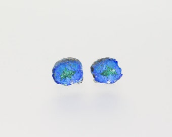 Raw Azurite Geode Gemstone Studs Cobalt Blue Druzy Post Earrings