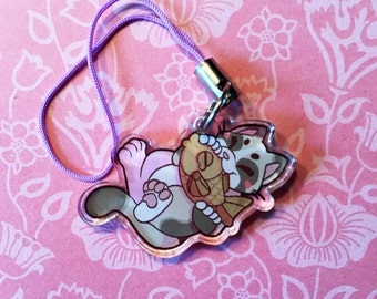 "1"" Double Sided Acrylic Charm - Snowshoe Cat"