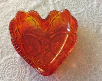 """6"""" Amberina Heart Shaped Nappy is Carltec-Flame by Smith Glass"""