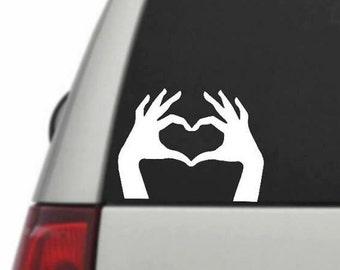 Hand heart decal sticker, heart hands decal, car deal, yeti tumbler decals, love decal sticker, love sign decal, laptop decal sticker,