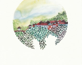 Childhood village - Art Print