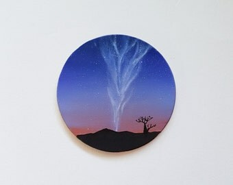 Australia Painting, Sunset, Landscape, Milky Way, Night Sky, Astronomy, Circular Painting, Miniature, Small, Tiny, Gift Idea, Silhouette