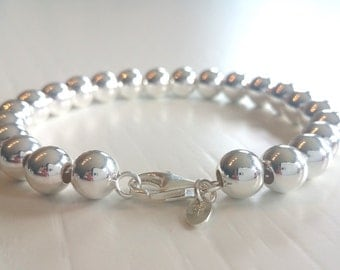 8mm Sterling Silver Ball Bracelet Silver Beaded bracelet 8mm Silver Balls Bracelet Silver bead bracelet Wedding Jewelry Bridesmaid bracelet