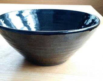 Glossy Black hand-thrown ramen bowl