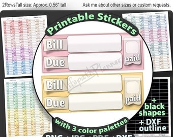 Bill due stickers printable bill due planner stickers bill due printable stickers for use in erin condren Planner sticker bill due budget