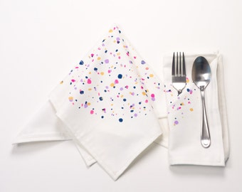 Confetti Pattern White Linen Dinner Napkins | Party Napkins and Birthday Napkins | Add some fun to your next bridal shower or dinner party