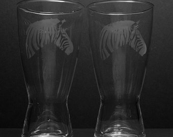 Pair of Etched Zebra Pint Glasses