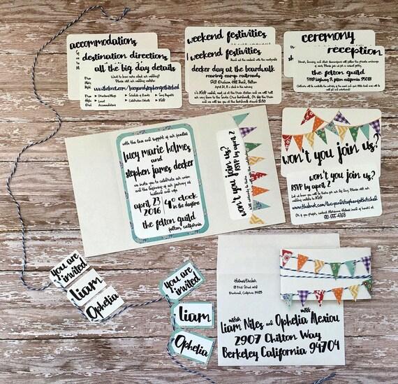 Unique pocketfold wedding invitation, handmade whimsical pocket invitation, vintage bunting wedding, colorful rainbow wedding, DIY wedding