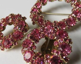Vintage Rhinestone Demi Parure Brooch Earrings Pink Rhinestones Vintage Jewelry Costume Jewelry Vintage Pink Rhinestones Pin Earrings