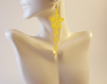 Yellow lace earrings Lace jewelry Statement earrings Womens Fashion Lace earrings Long earrings Drop earrings Dangle earrings