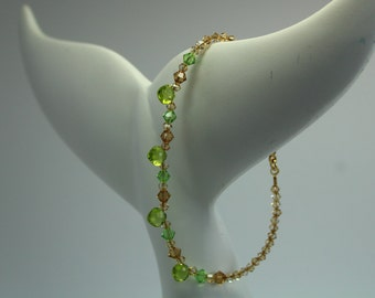 Peridot and Gold Swarovski Beaded Bracelet