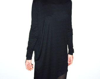 Asymmetrical Extra Long Sleeves Black Women's Tunic/Dress/High Low Designer's Blouse