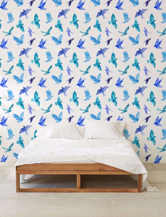 Watercolor Bird Wallpaper Removable Wallpaper Self Adhesive