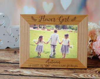 Flower Girl Picture Frame, Custom Engraved Photo Frame, Personalized Picture Frame, Ring Bearer, Mother of The Groom, Flower Girl, Wedding