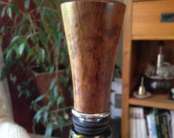 Bog-Wood and Chrome Bottle Stopper